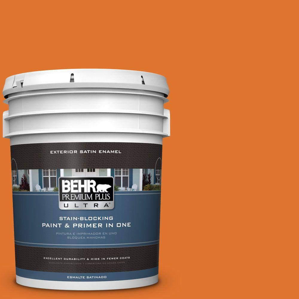BEHR Premium Plus Ultra 5-gal. #240B-7 Carrot Stick Satin Enamel Exterior Paint