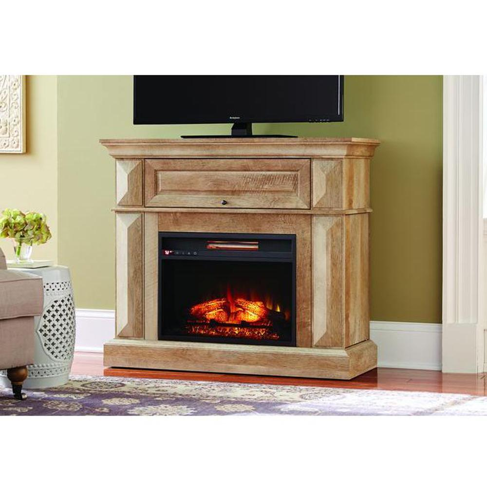 Celebrate the comfort of a fireplace hearth with Home Decorators Collection Coleridge Mantel Console Infrared Electric Fireplace in Midnight Oak Finish.