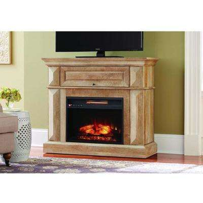 Coleridge 42 in. Mantel Console Infrared Electric Fireplace in Natural Beige Driftwood in 36 in. H
