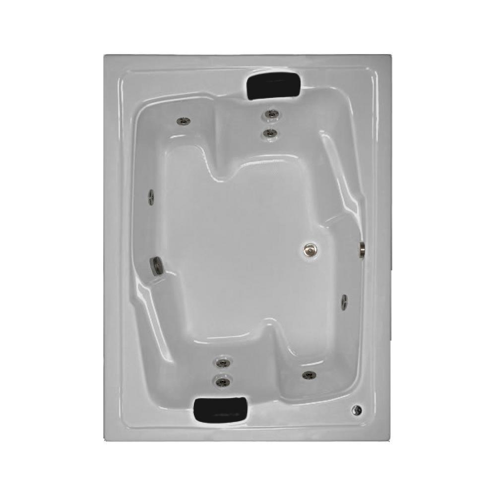 72 in. Acrylic Rectangular Drop-in Whirlpool Bathtub in Biscuit