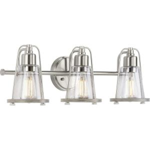 Conway 3-Light Brushed Nickel Clear Seeded Glass Farmhouse Wall Light