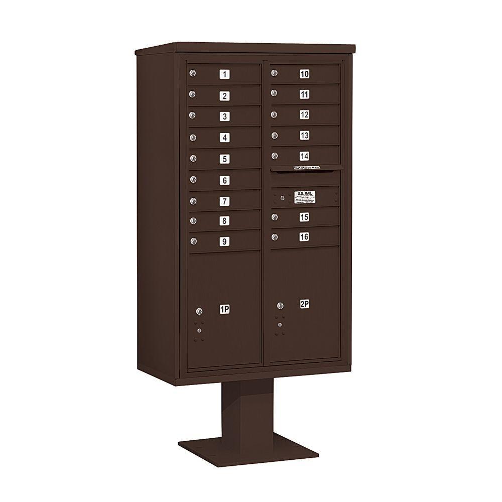 3400 Series 70-1/4 in. 15 Door High Unit Bronze 4C Pedestal Mailbox with 16 MB1 Doors/2 PL6