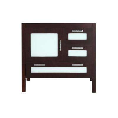Bosconi 36 in. Main Cabinet Only in Espresso with Polished Chrome Hardware