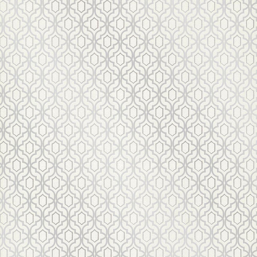 Kenneth James Alcazaba Silver Trellis Wallpaper 2618-21368