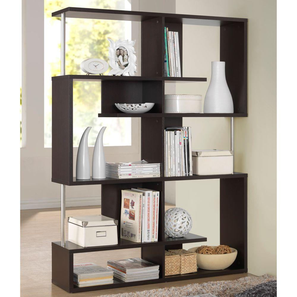 Baxton Studio Kessler Dark Brown Wood 5 Tier Open Shelf 28862 5058
