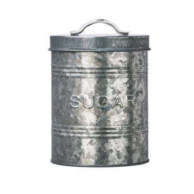 Rustic Kitchen Metal Sugar Storage Canister with Galvanized