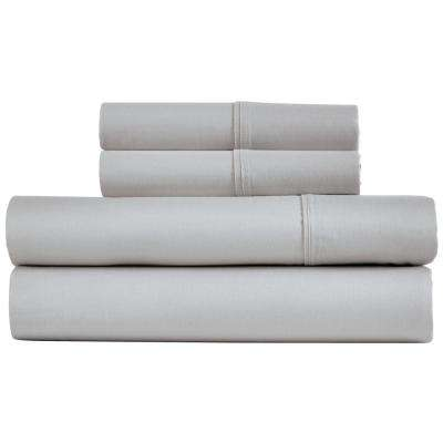 Naples 4-Piece Silver Cotton Queen Sheet Set
