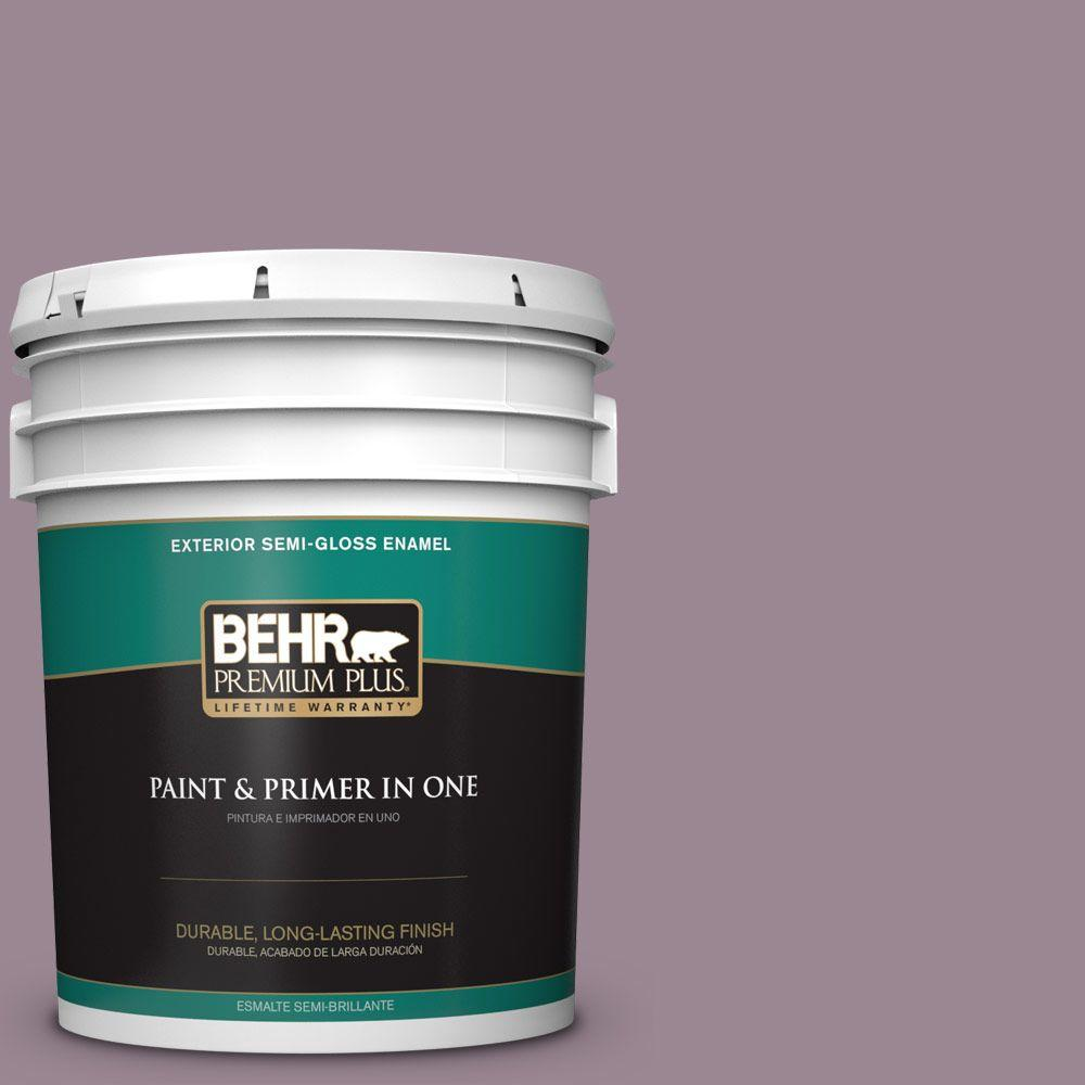 BEHR Premium Plus 5-gal. #690F-5 Purple Mauve Semi-Gloss Enamel Exterior Paint