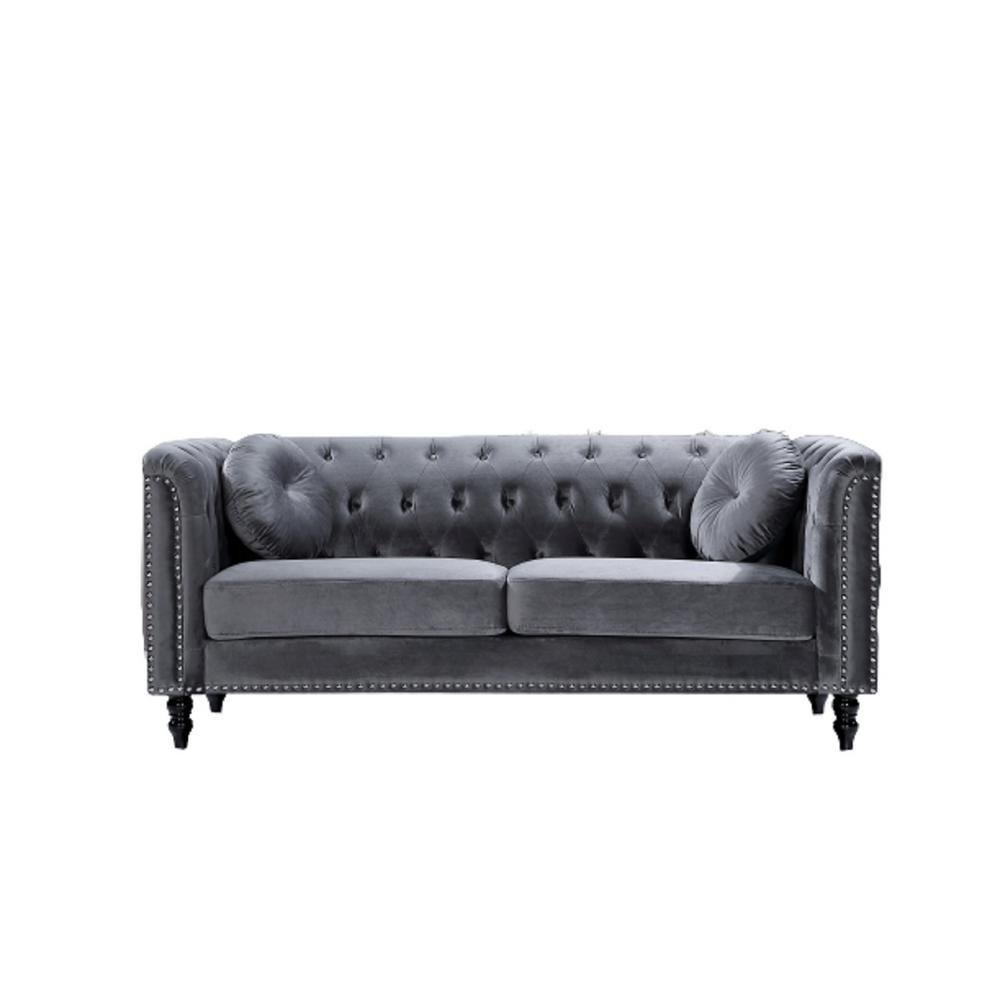 Vivian Grey Classic Velvet Kittleson Nailhead Chesterfield Sofa