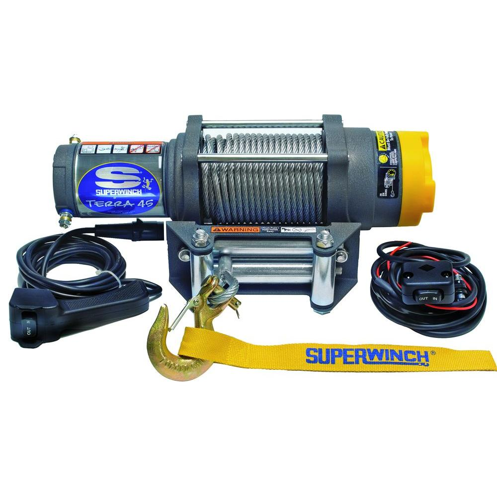 Superwinch Terra Series 45 12 Volt Atv Winch With 4 Way Roller 12v Motor Wire Diagram Fairlead And
