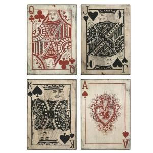 IMAX Leonato 18 inch H x 12.75 inch W Iron Playing Card Wall Decor (Set of 4) by IMAX