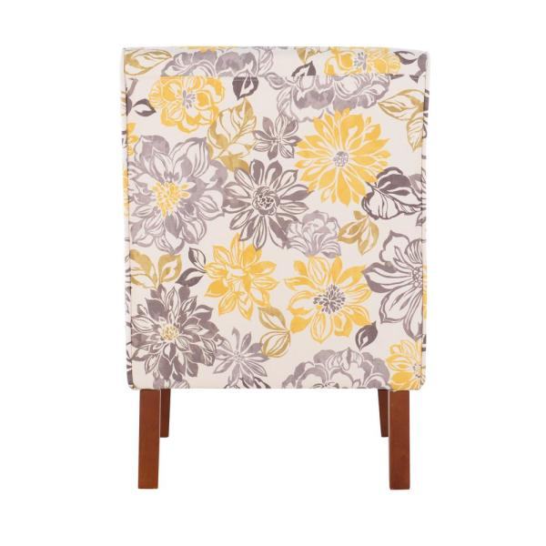 Linon Home Decor Lily Gray And Yellow Polyester Side Chair 36092brid 01 Kd U The Home Depot
