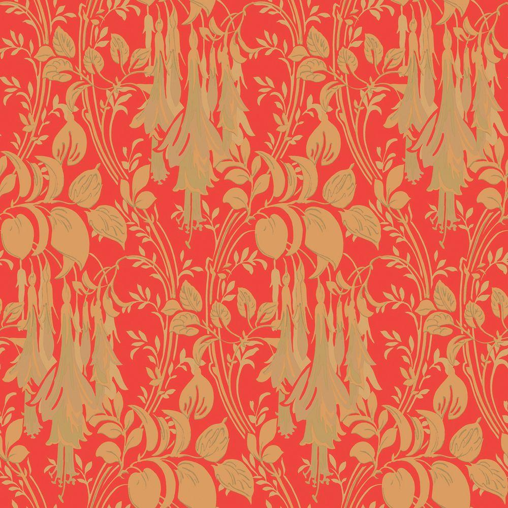 The Wallpaper Company 56 sq. ft. Coral Large Floral Trail Wallpaper