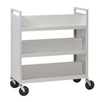 Platinum 37 in. 3-Shelf Steel Library Book Truck