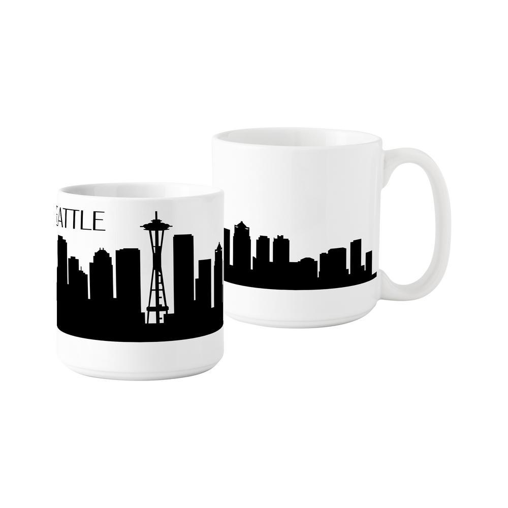 Seattle Skyline 20 oz. White Ceramic Coffee Mugs (Set of 2)