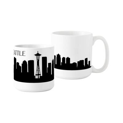 Seattle Skyline 20 oz. White Ceramic Coffee Mugs (Set of 2)