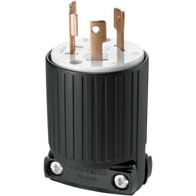 Hart-Lock Industrial Grade 30 Amp 125-Volt Plug with Safety Grip, Black and White