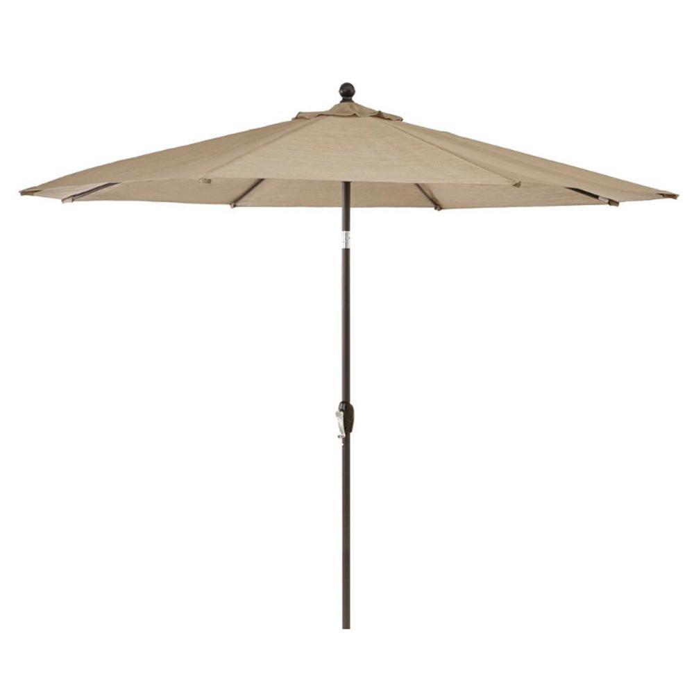 Hampton Bay 10 Ft Crestridge Steel Market Outdoor Patio Umbrella In Sling 8000nzb The Home Depot