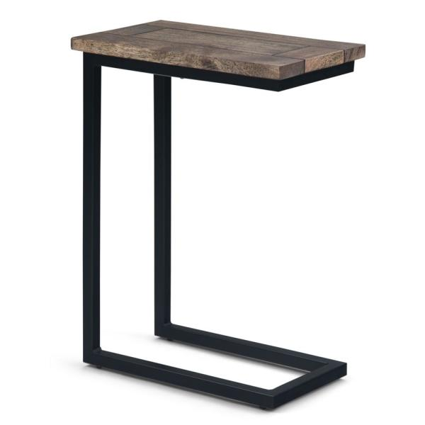 Iron Frame Wood Top Sofa Side Coffee Laptop Trolley Table In Brown