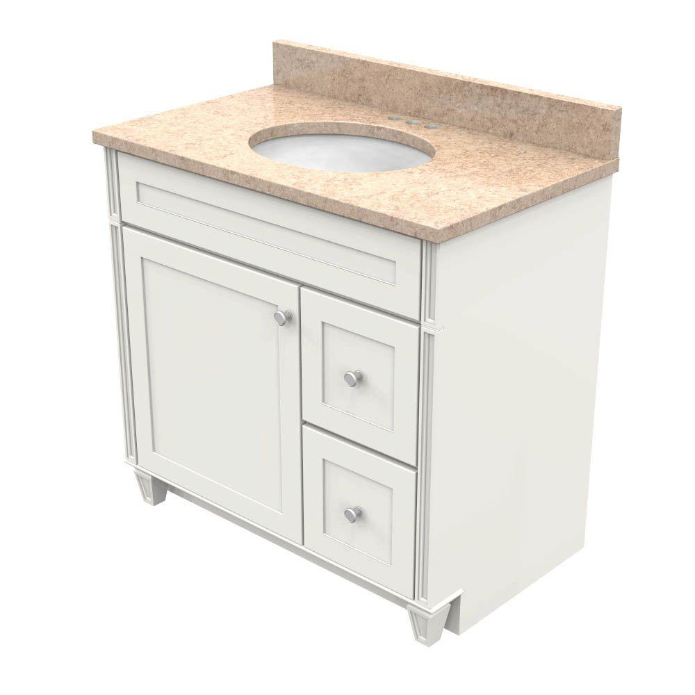 Kraftmaid Dove White Natural Quartz Top Khaki Cream White Basin Product Image