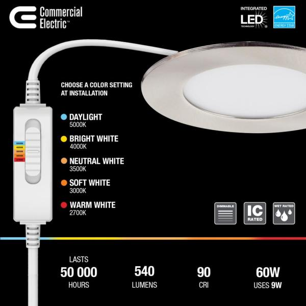 Commercial Electric Ultra Slim 4 In Color Selectable New Construction And Remodel Canless Recessed Integrated Led Kit Nickel 91471 The Home Depot