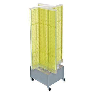44 in. H x 13.5 in. W Pegboard on Wheeled Base in Yellow
