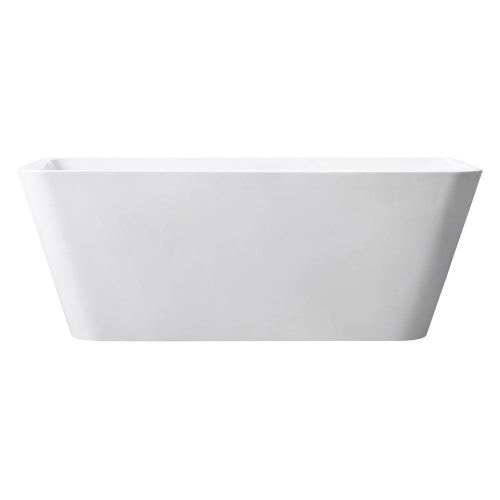 Acrylic Center Drain Rectangular Bathtub In White Gloss
