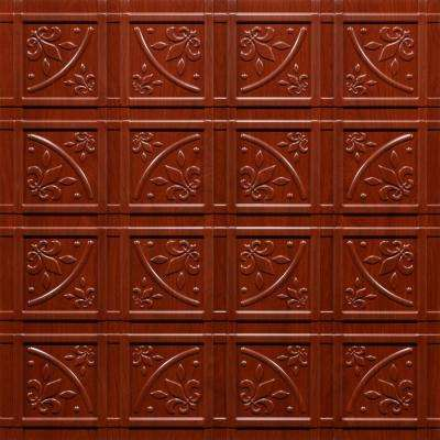 Lafayette Faux Wood-Cherry 2 ft. x 2 ft. Glue-up Ceiling Tile and Backsplash Kit