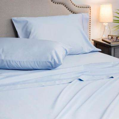 4-Piece Blue Hydra 1000 Thread Count Cotton Poly King Sheet Set