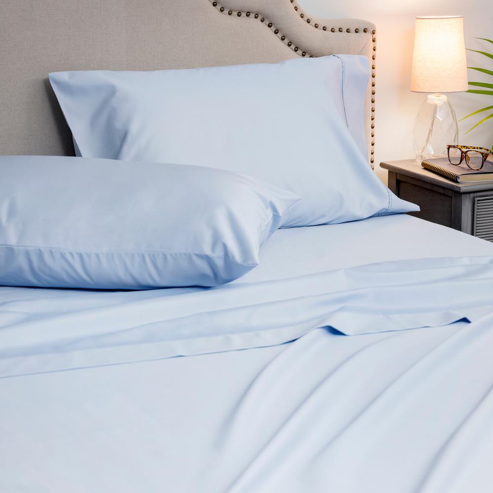 4-Piece Blue Hydra 1000 Thread Count Cotton Poly Queen Sheet Set