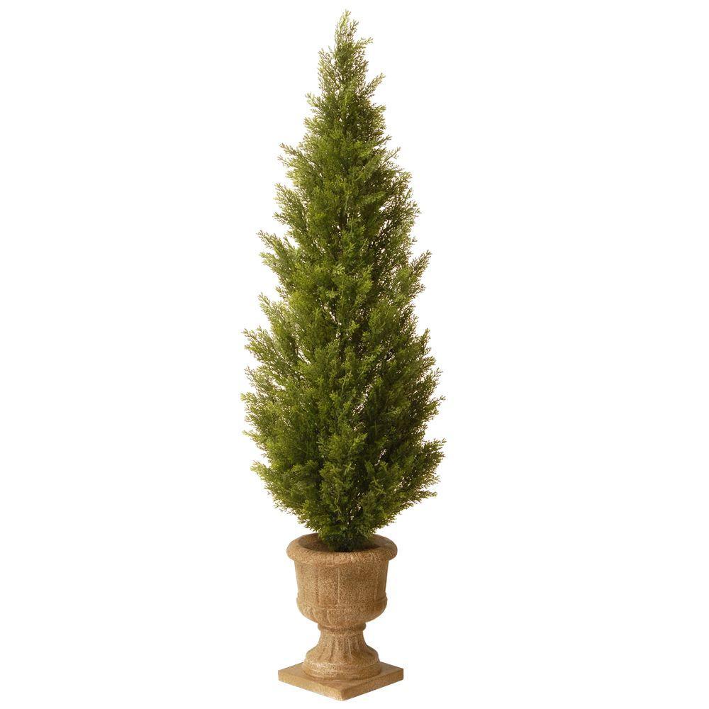 null 5 ft. Unlit Arborvitae Potted Artificial Tree in Decorative Urn