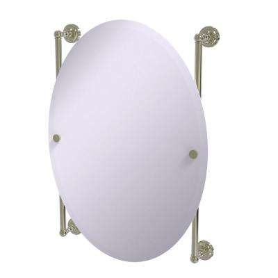 Dottingham Collection Oval Frameless Rail Mounted Mirror in Polished Nickel