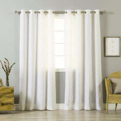 84 in. L Optic White Linen Blend Curtain Panel (2-Pack)