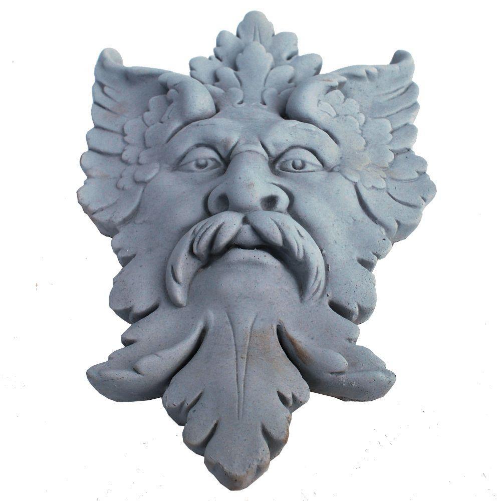 null Cast Stone Michelangelo Leaf Mask Plaque Antique Gray