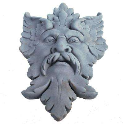 Cast Stone Michelangelo Leaf Mask Plaque Antique Gray