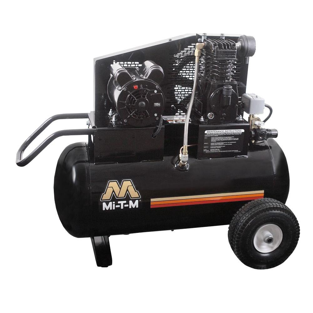 portable air compressor mi t m 20 gal 6 5 cfm at 100 psi 120 volt 1 5 hp electric 10663