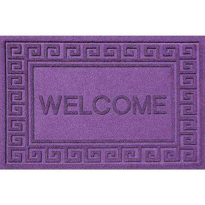 Greek Welcome Purple 24x36 Polypropylene Door Mat