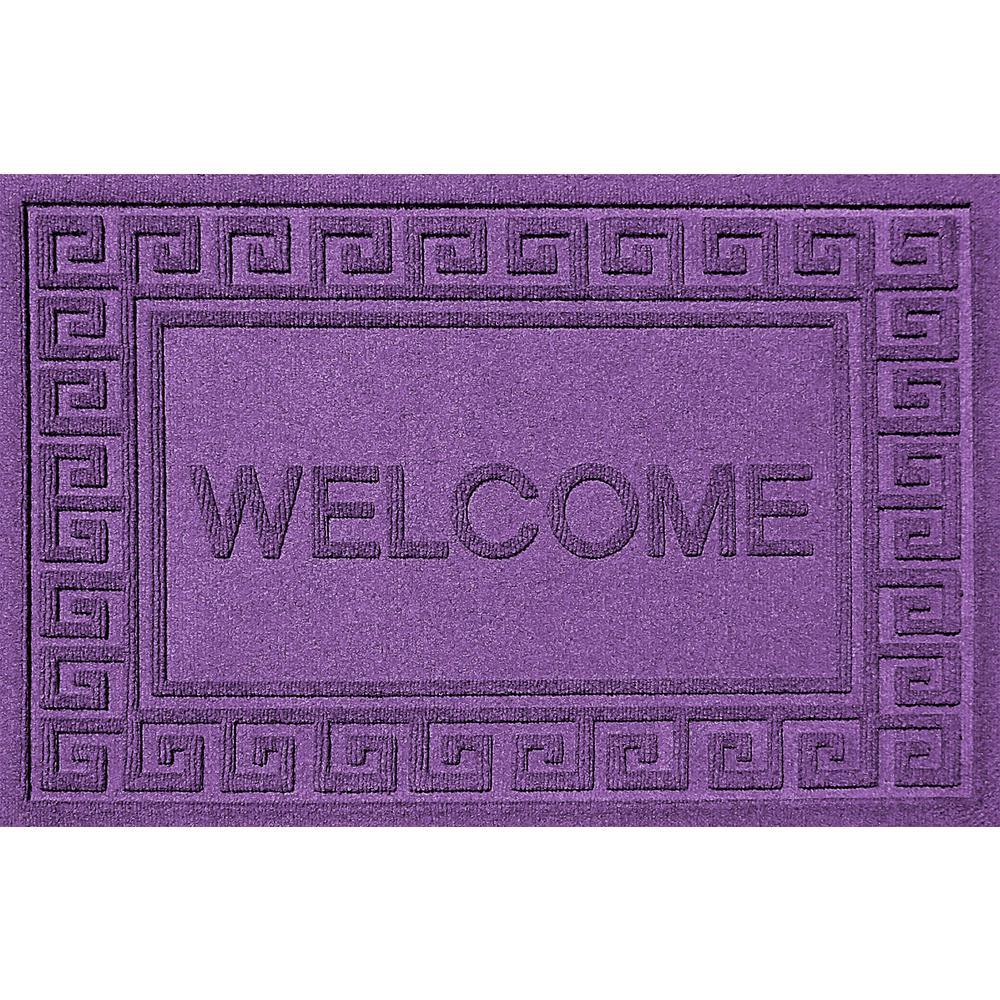 Greek Welcome Purple 24x36 Polypropylene Door Mat