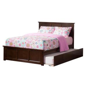 Madison Walnut Full Platform Bed with Matching Foot Board and Twin Size Urban Trundle Bed