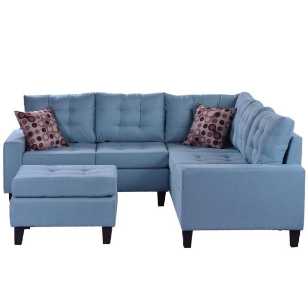 L-Shape Sofa 3-Piece Dark Blue Fabric Right Facing Sectionals with Storage Ottoman