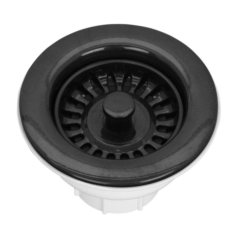 Pegasus 3-1/2 in. Basket Strainer Drain in Black