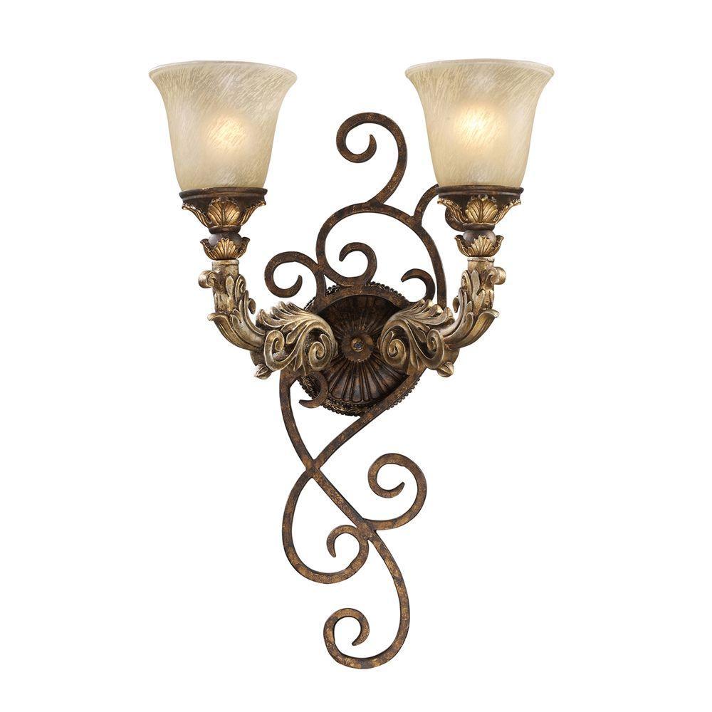 Regency 2-Light Burnt Bronze Sconce