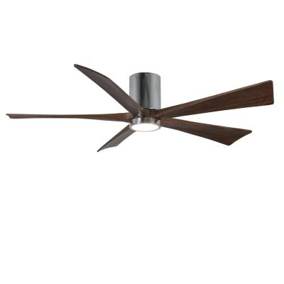 Irene 60 in. LED Indoor/Outdoor Damp Polished Chrome Ceiling Fan with Light with Remote Control and Wall Control