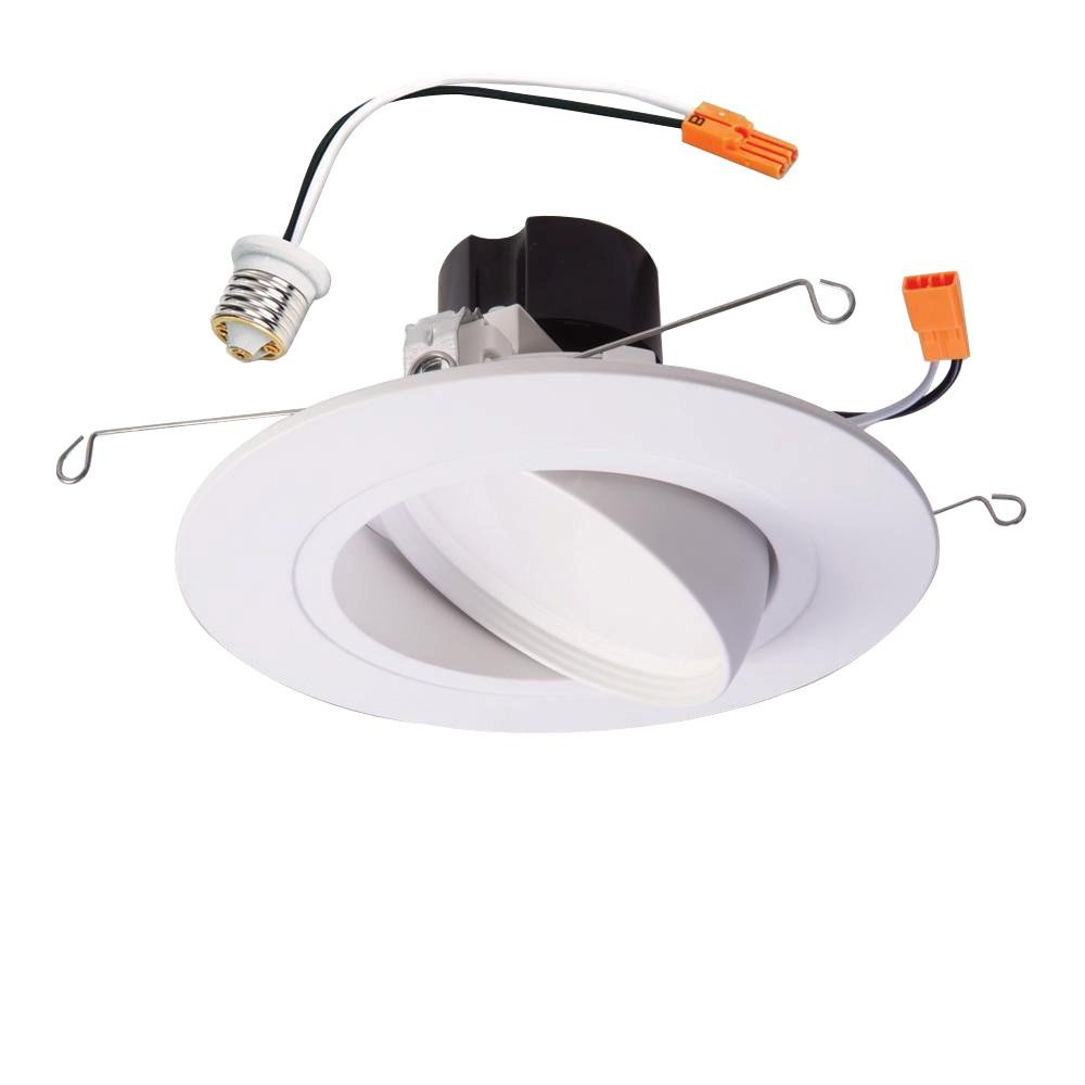 Halo ra 5 in and 6 in white integrated led recessed ceiling light halo ra 5 in and 6 in white integrated led recessed ceiling light fixture adjustable gimbal trim 90 cri 3000k soft white ra5606930whr the home depot audiocablefo