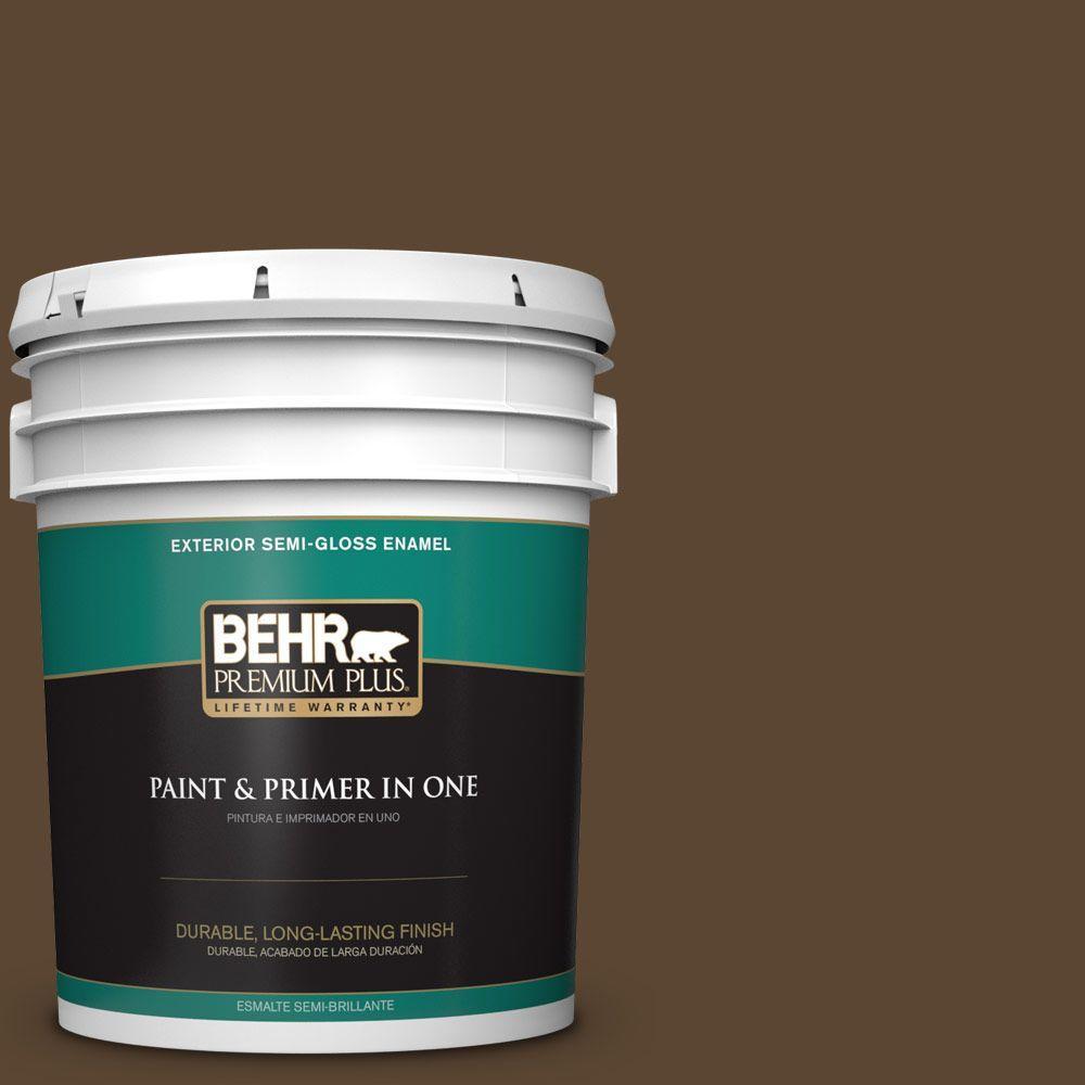 BEHR Premium Plus 5-gal. #ECC-20-3 Hickory Grove Semi-Gloss Enamel Exterior Paint
