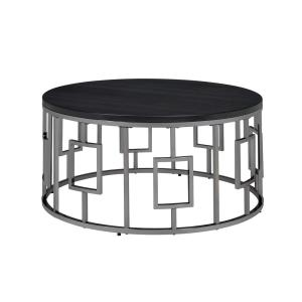 Kendall 36 in. Chrome/Black Medium Round Wood Coffee Table