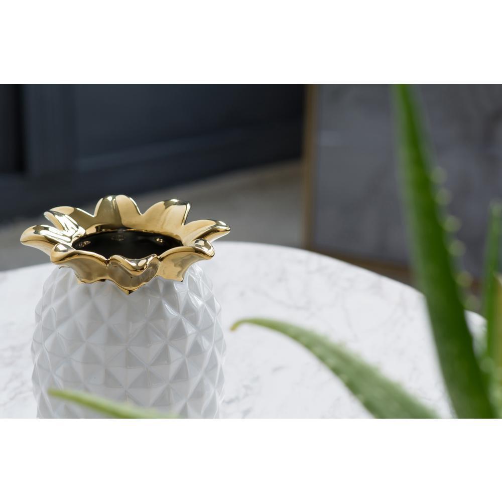 Pineapple White, Gold Ceramic Decorative Vase