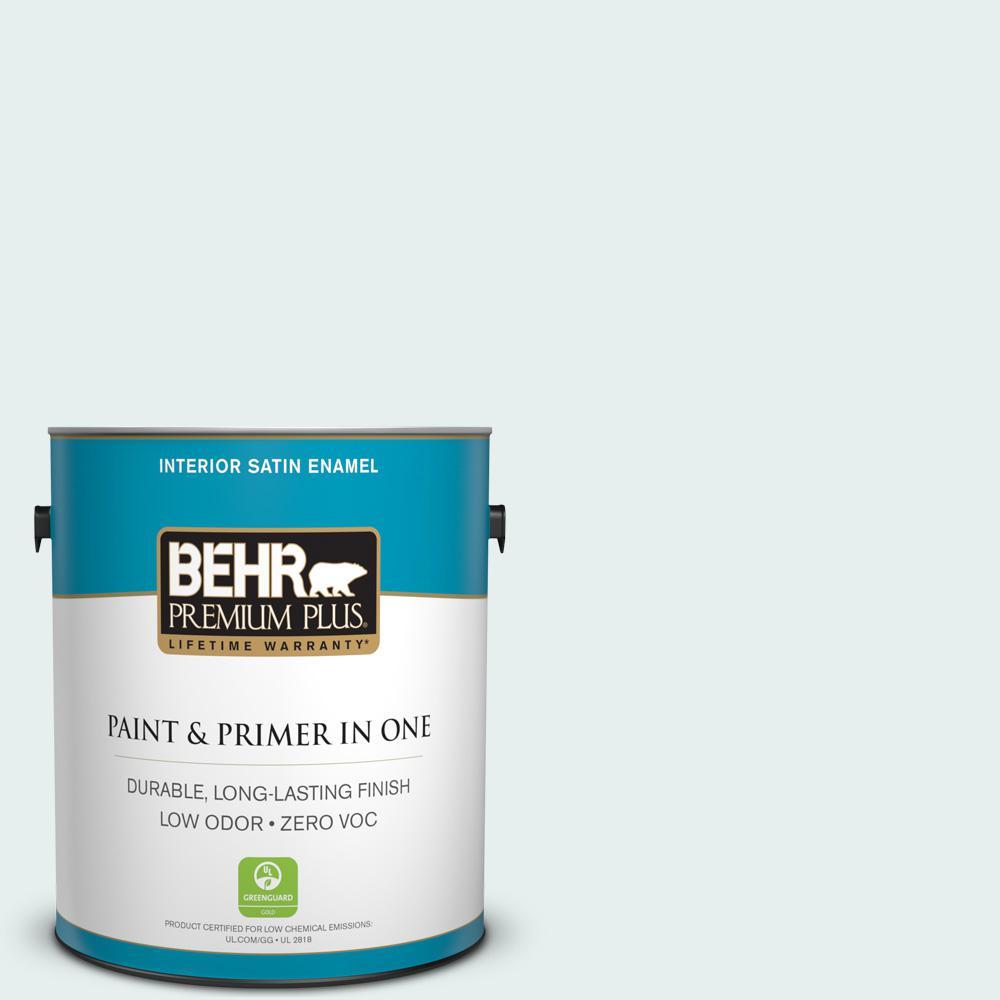 BEHR Premium Plus 1-gal. #730E-2 Sparkling Spring Zero VOC Satin Enamel Interior Paint