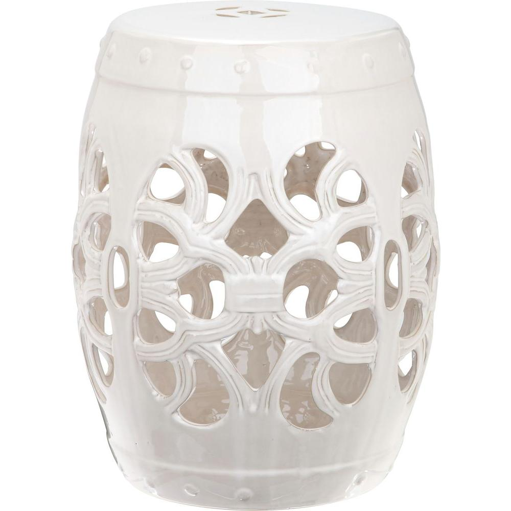 Safavieh Imperial Vine Antique White Patio Stool Acs4539a