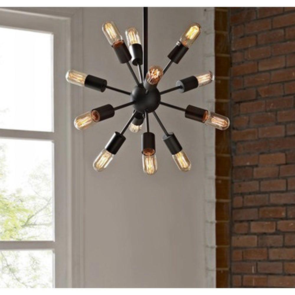 Herrick 9 in. 12-Light Indoor Brown Pendant Lamp with Light Kit